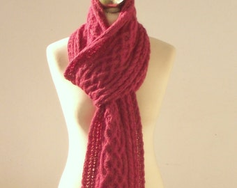 Raspberry Pink hand knitted alpaca long scarf with celtic cable pattern, knit scarf, knitted alpaca scarf