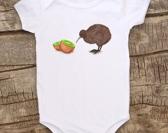 Kiwi bird, Cute Baby bodysuit, Unique Baby Clothes, Funny Baby shirt, Animal Baby Clothes, Baby Bird, Bird baby, New Zealand, Kiwi