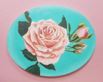 PINK ROSES PAINTING, Mother's Day Gift, Flower Arrangement, Rose Bouquet, Acrylic Painting on Oval Canvas