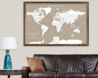 Push pin maps personalized pillows and unique gifts by cottonnink push pin map canvas travel map pin unique world map wall art personalized gifts for travelers gumiabroncs Choice Image