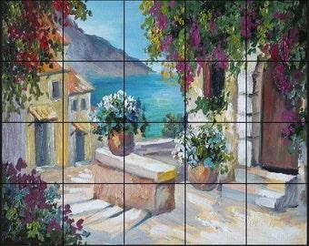 24 x 30 Ceramic Tile Mural Backsplash, Sea View Villas 361