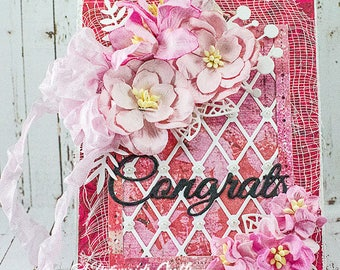 Shabby Chic Congrats Card With Gift Card Holder Tag