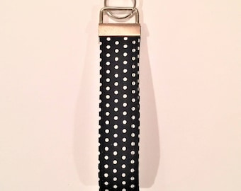 Black short lanyard, Black key wristlet,  Black keychain, polka dot key fob, Black and White Key fob, Fabric keychain,  black key fob