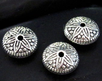 JuJuBeez Round Etched Pattern Sphere Pewter Spacer Bead - Set of 24
