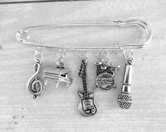 Musical Instrument Music Themed Kilt Pin Charm Brooch