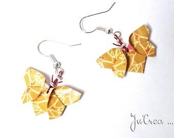 Origami butterflies earrings mustard