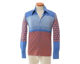Vintage Authentic 70s NIK NIK  Geometric Disco Shirt 1970s Rare Boogie Nights Nylon Saturday Fever Dance Pimp Mod Retro Shirt / mens S