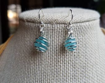 Raw, Clear, Blue Apatite in Tarnish Resistant Silver Plated Wire Wrap Dangle Earrings