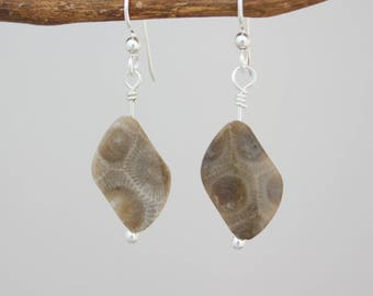 Petoskey stone jewelry, Petoskey stone earrings, Michigan jewelry, Michigan earrings,
