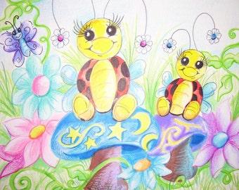 Big Sister  and  Little Sister - Art Print/ Artists Upfront For  VickiDiane