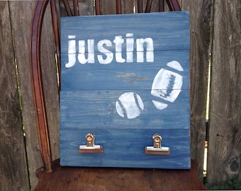 Boys Bedroom Wall Art, personalized, Clip, clipboard sign, organize, organizer, custom, nursery, sports, baseball, football, custom, Artwork