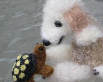 Needle Felted Dog / Custom Miniature Sculpture of your pet / cute / poseable by Fiber artist GERRY / example Bedlington Terrier