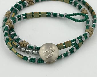 Wrap Bracelet/Necklace in Green Metallic and Silver