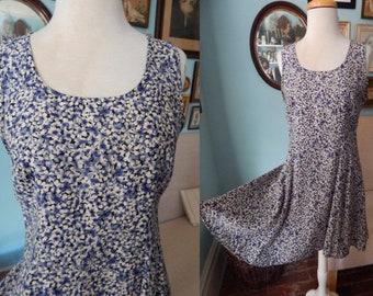 VTG 90's blue floral grunge rayon dolly mini dress Rampage USA