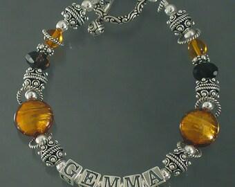 Murano Glass Mothers Name  Bracelet in Amber