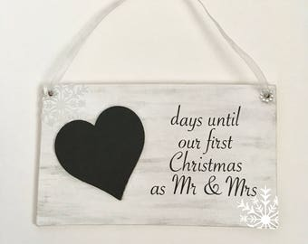 First Christmas as Mr & Mrs countdown plaque frosty
