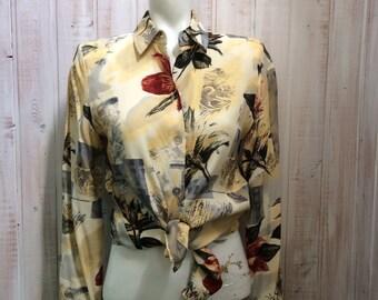 Vintage - blouse - blouse - beige - a retro print - medium