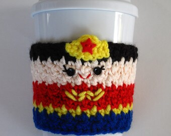 Crochet Wonder Woman Coffee Cup Cozy