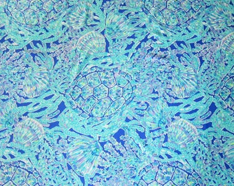 """18"""" x 26"""" Lilly Pulitzer Rayon Fabric Tortuga Time"""