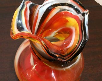 Modern Marigold Glassware  Hand Blown Glass  Vase Fluted Scallop Top