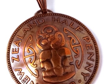 Unique Maori Jewelry, Authentic New Zealand Coin Pendant, Gift for Her, Gift for Him, Vintage Jewelry