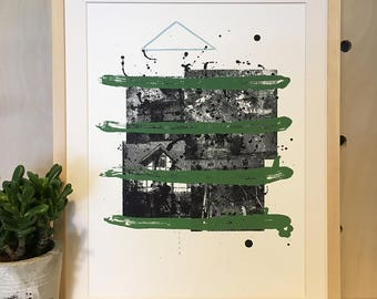 Sample House Print - Handpulled Serigraph with Litho Elements