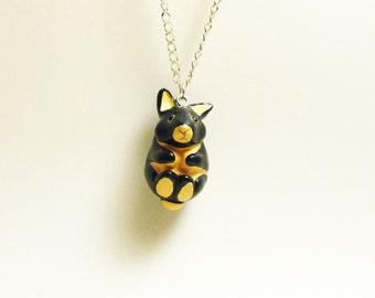 necklace tiny black fire bunny rabbit