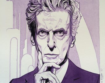 ORIGINAL watercolour/gouache painting of PETER CAPALDI (Doctor Who) by Chris Naylor