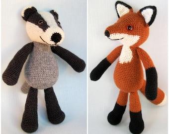 Blackberry the Badger and Bracken the Fox Amigurumi Pattern PDFs - Crochet Patterns