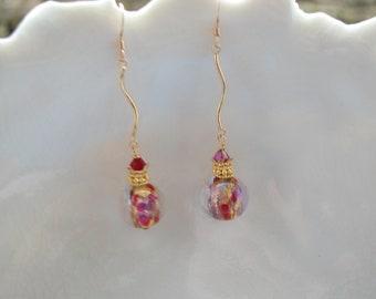 Red Long Dichroic Murano Glass Earrings