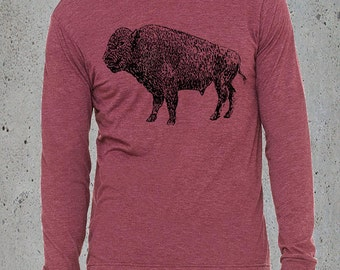Native American Clothing, Men Vintage BUFFALO BISON TShirt, Long Sleeve T shirt, Birthday Gift Him, Tumblr Clothes, Hipster Graphic Tee,