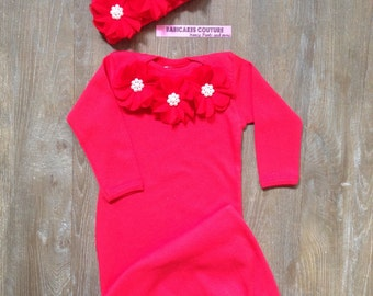 Baby's 1st Valentine, Newborn Girl Take Home Outfit, Red Baby Gown & Hat Newborn Winter Outfit, Hospital Take Home Outfit, Red Baby Layette