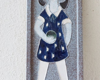 Mid Century ceramic wall plaque/ wall tile. Girl