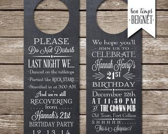 Door Hanger Invitation / Please Do Not Disturb  - Printable Invite - Custom Download