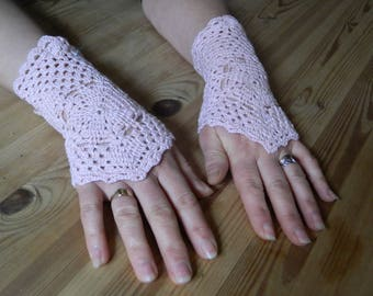 Fingerless gloves arm warmers pink lace crochet