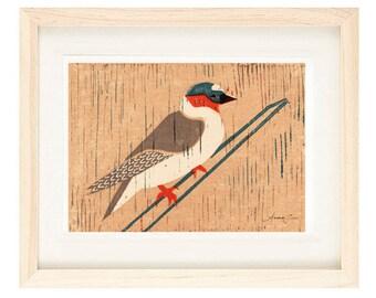 CLIFF SWALLOW Poster Size Linocut Reproduction Art Print: 8 x 10, 9 x 12, 11 x 14, 12 x 16