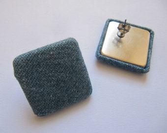 80s/90s Denim Square Stud Earrings