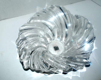 art glass bowl vintage Mikasa clear glass  wave bowl home decor