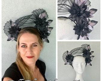 Ladies black halo headband fascinator