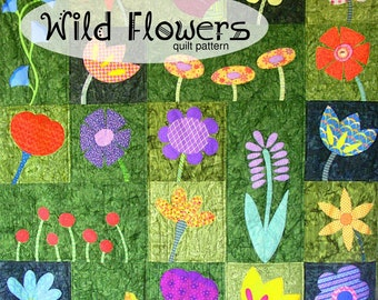 Wild Flowers applique quilt pattern PDF