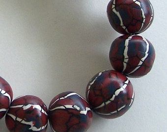 Maroon, Black, and White Striped Round Polymer Clay Bead 15mm by Carol Wilson of PollyClayDesigns