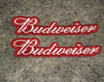 2 Vintage 80s Budweiser Embroidered Patches - Bud Logo