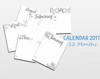 2017 Calendar, Printable Calendar, Seasonal, Printable Monthly Calendar, Printable Calendar Pages, Portrait Calendar, Instant Download