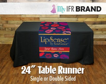 "LipSense Single or Double Sided 24"" Table Runner - Lips 02"