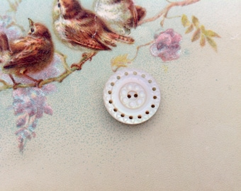 Antique Mother of Pearl Button Carved and Pierced MOP Button