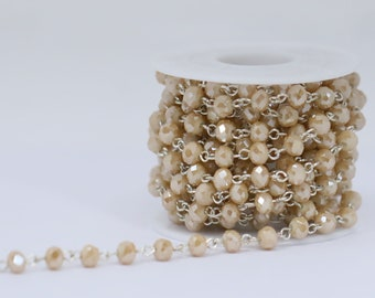 Lovely Bead 6x4mm Matte Golden Shadow Crystal Rosary Chain in Silver Wire (About 10 foot per Roll)