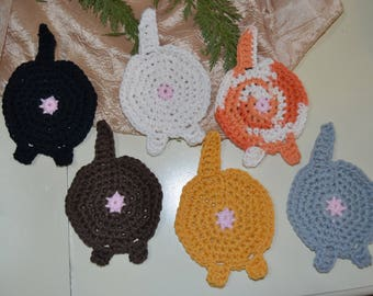 Cat butt crocheted coaster, set of 6 coasters