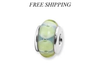 Sterling Silver Kids Light Blue & GreenHand-blown Glass Bead