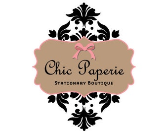 SALE Premade Logo design- Chic Paperie Logo Design damask logo design