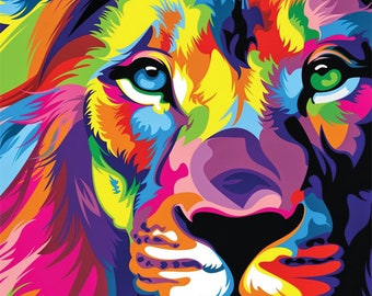Custom Printed Bulletin Board - Multi-colored Lion - it's bold and beautiful for any room in the house or office!